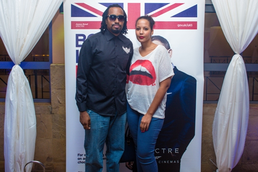 Navio and a friend  turned up for Heineken's Spectre premiere