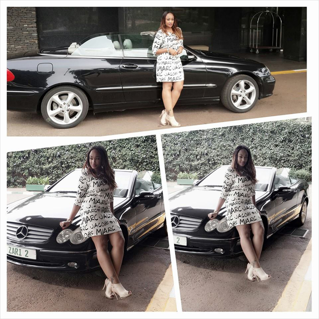 Socialite Zari Hassan showing off her posh CLK500 Mercedes Benz