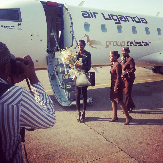 Aamito Stecy arrived at Entebbe International Airport this afternoon aboard Air Uganda