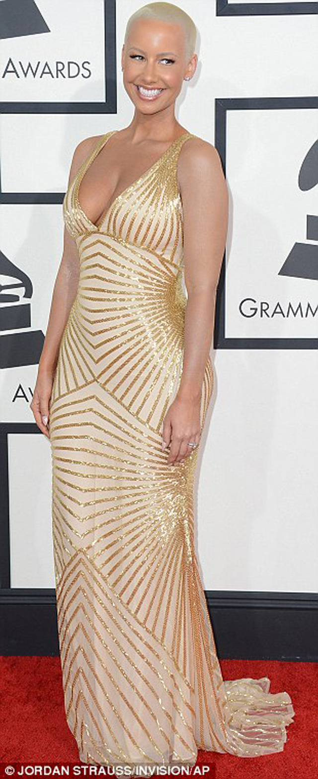 Amber Rose sported a dramatic pale gold gown which showed off her ample curves, also hiding her tattoos with make-up