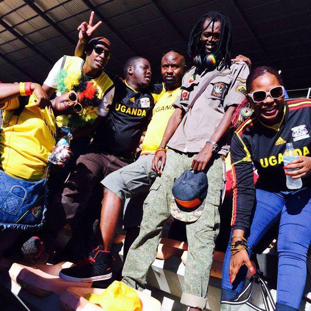 Badman cheering Uganda Cranes with friends