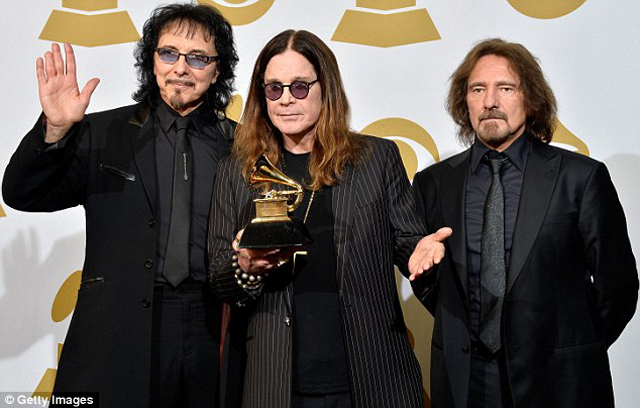 Black Sabbath's Tony Iommi, Ozzy Osbourne and Geezer Butler posed with their award for Best Metal Performance for God Is Dead