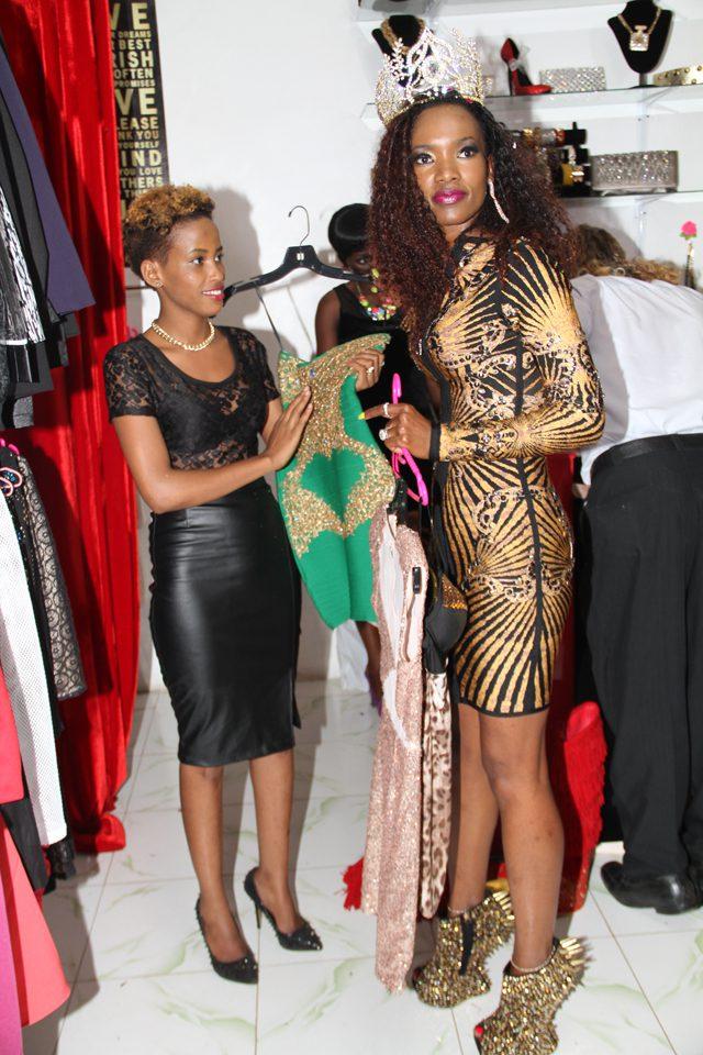 Esther Akankwasa and Barbara inside Diva Fashions house