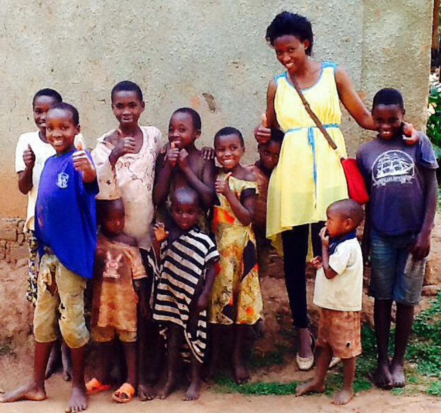 Doreen Kabareebe with some kids in Mbarara during her Charity work