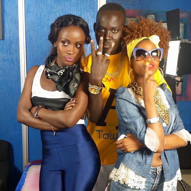 Leila, DJ Hearts and Sheebah Karungi during the video shoot