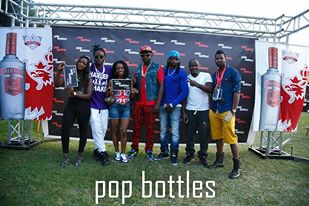 Revelers at the recent pop bottles