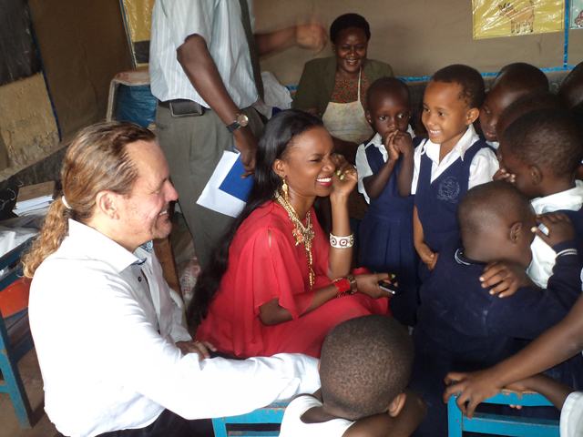 Barbara and hubby Al Sears checking out some of the children at the school on Monday