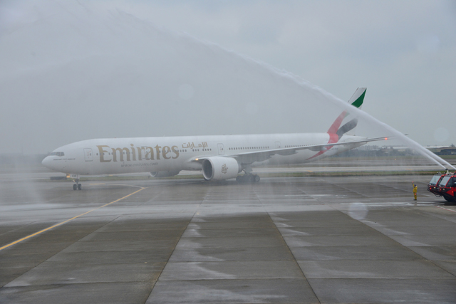 Emirates' inaugural non-stop flight EK 366 from Dubai arrives at Taipei Taoyuan Airport on Monday greeted by a double water cannon salute