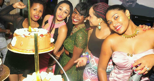 FROM L-R; Olive, Nickita, Pherrie (C) Lisa and Begum at Pherrie's send off party.