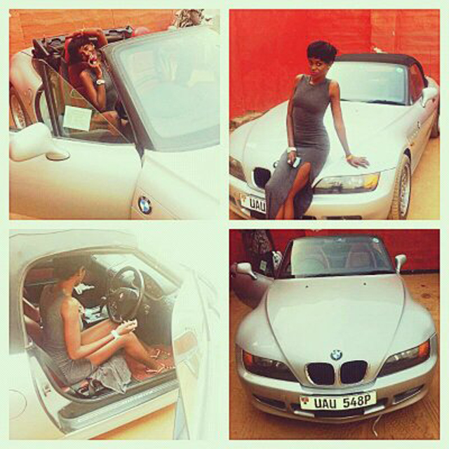 Hellen on her new BMW car which she got on Valentines Day as a gift from lover Dean