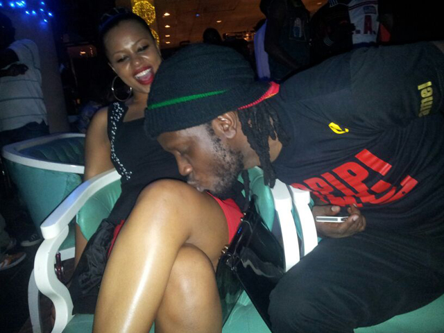 Bebe Cool kissing Zuena's thigh last night