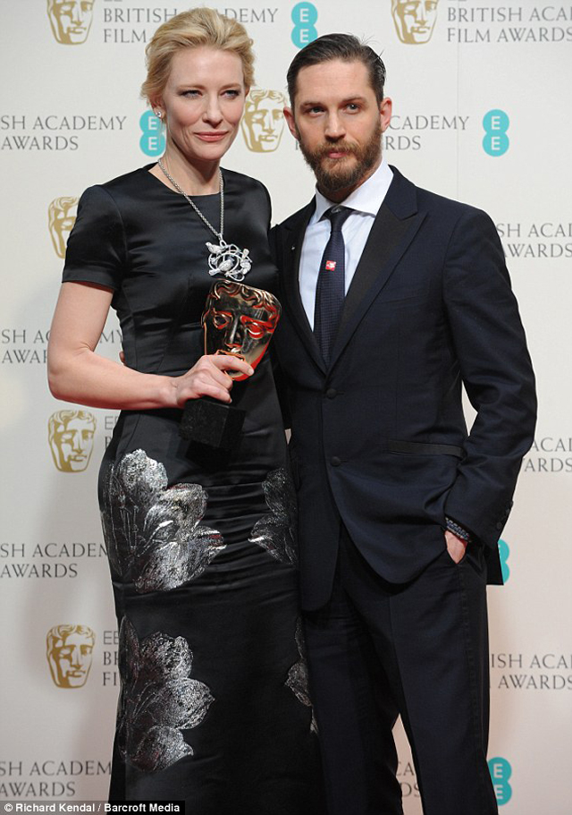 On top of her game; Cate Blanchett won the award for Best Actress, which she was presented by Tom Hardy (right)