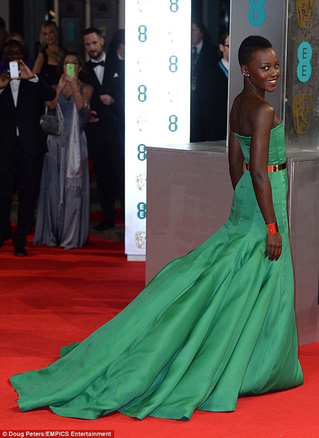 Stunning; She didn't win the award for Rising Star, but Lupita Nyong'o looked stunning in her green frock