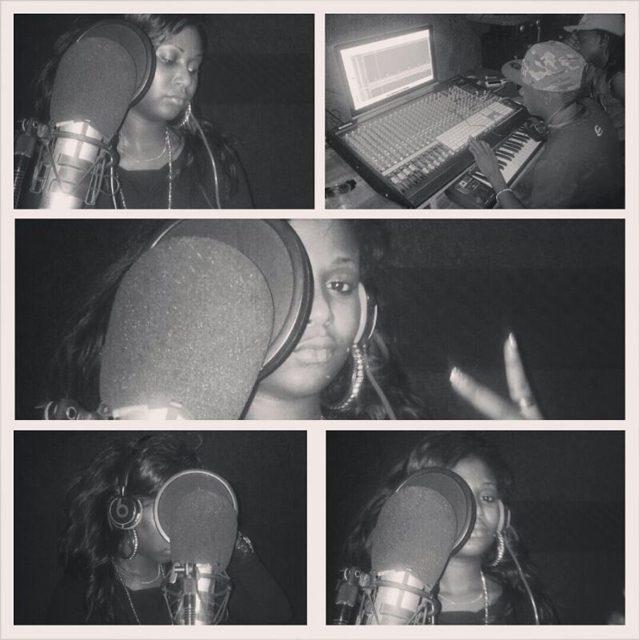Brenda in studio doing 'Give Me Some Love' song