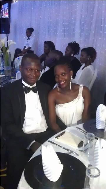 Joel Isabirye and Rebecca Isabirye at Meddie  Nsereko's wedding today at Hotel Africana