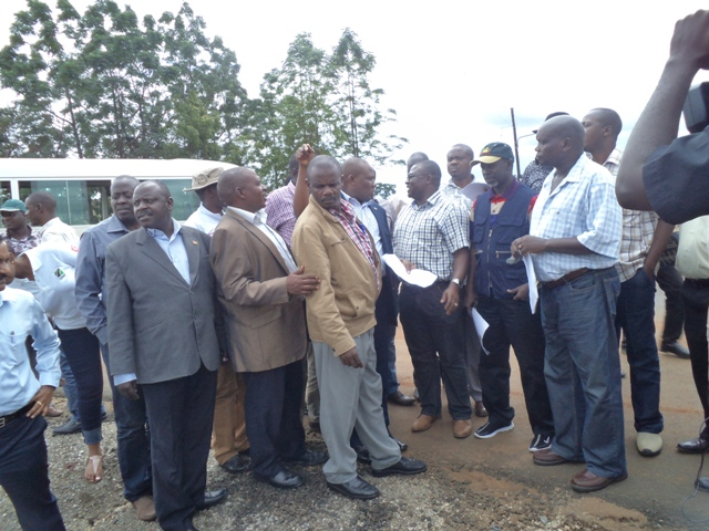 MPs on Physical Infrastructure Committee during a tour of Tororo-Mbale Road on Friday