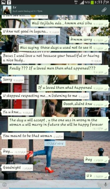 Adams begging Annet during Whatsapp chat for a second chance