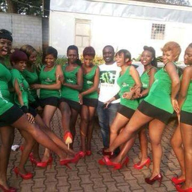 Ben Dollar with some of her models at a Heineken function