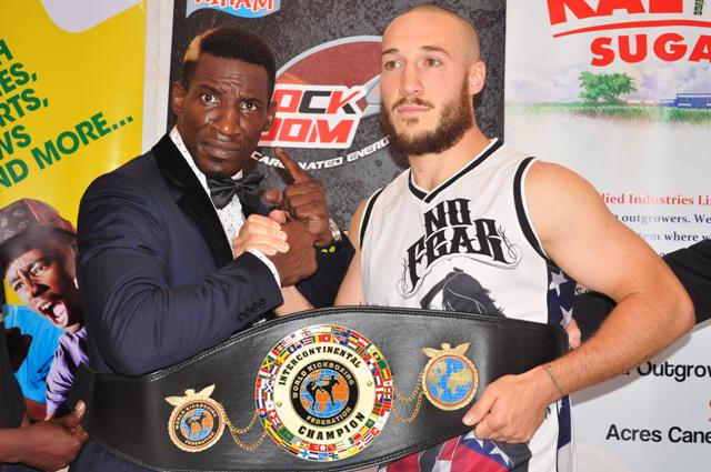 Ready to RUMBLE: Moses Golola and Richard Abraham after a press conference yesterday at Centenary Park