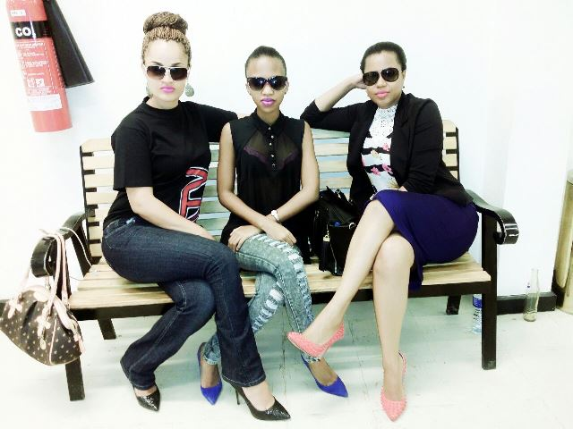 Carol Flower Ssali with Sheila Gashumba and Zuena Kirema, both sfaff of NTV Uganda