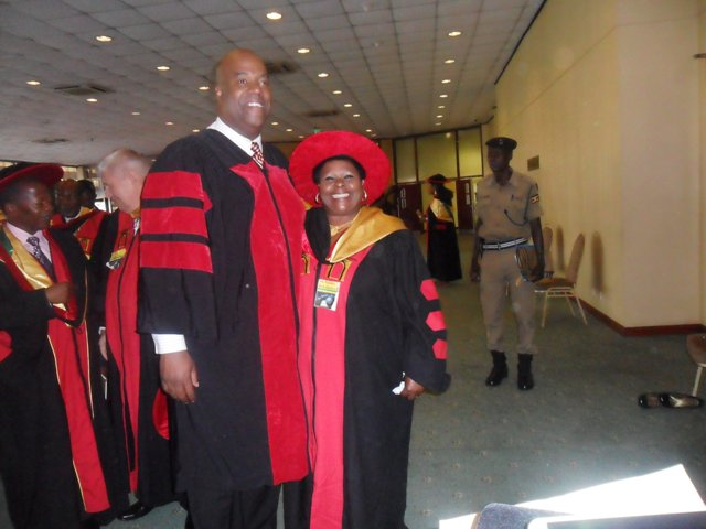 Goodra Behakanira (R) after receiving her doctorate