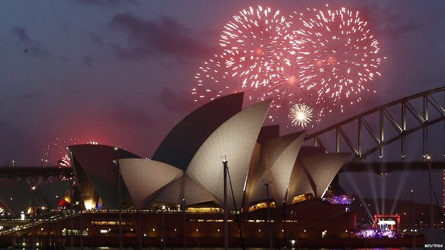 An early light show gave people a taster of what was to come in Sydney, with more than 10,000 fireworks, 25,000 shooting comets and 100,000 pyrotechnic effects expected to be used during the main event