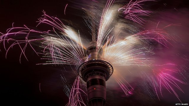 Auckland was the first major city to welcome in 2015 with a huge firework display and music blasting from its iconic Sky Tower