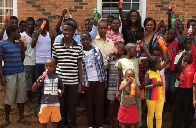 Judith Heard during charity tour in Rwanda