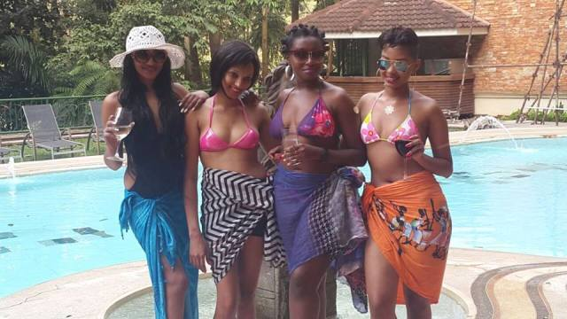 Nickita Bachu in (black) with a group of female friends as she celebrated her birthday on Sunday