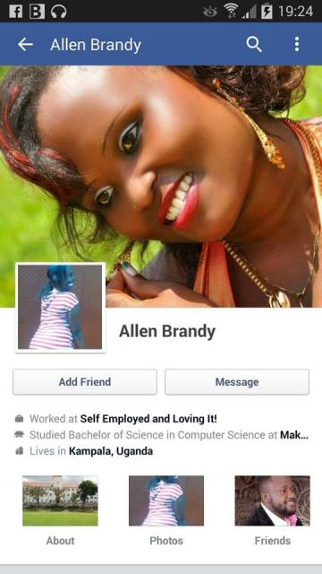 Allen Brandy has since deleted her Facebook account after the nude photos scandal
