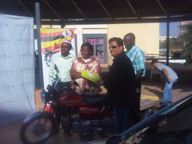 A consolation prize of a HERO Dawn Motorbike was won by Christine Kasule Mulimba
