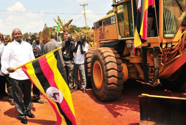 President Museveni flagging off construction of Mukono- Katosi Road