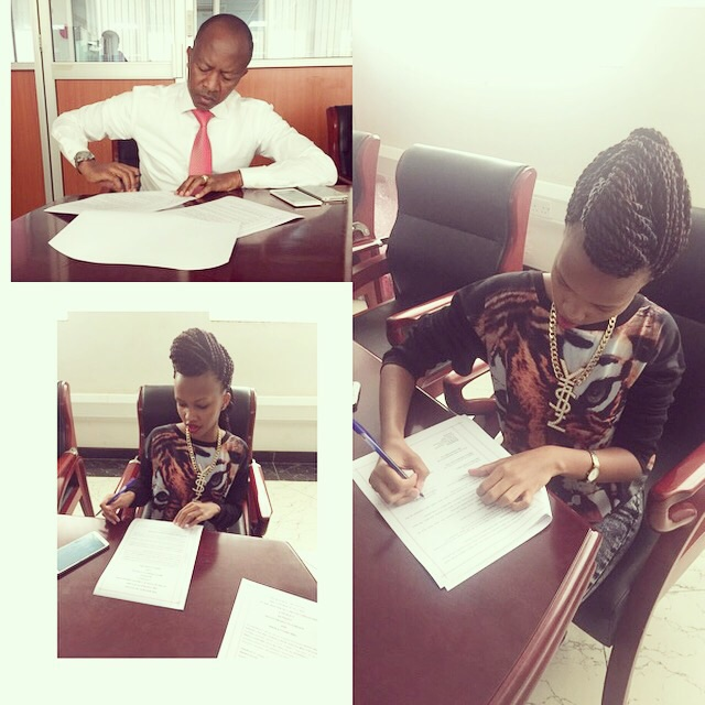 Sheila Gashumba signs the multimillion deal with her dad Frank Gashumba