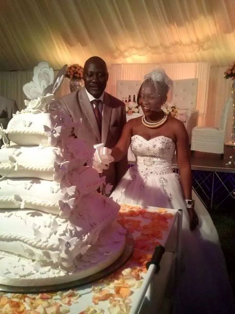 Newly weds: Stephen Kavuma and Bettina Tumuhaise cutting their cake on Saturday