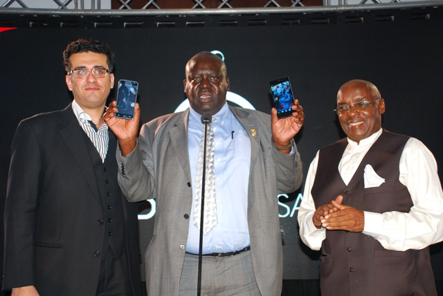 (L-R) The co-founder Jawad Qureshi, Guest Honour State Minister for hosing Sam Engola and Representative to the Pakistani government Bonny Katatumba launching the iDROID phone