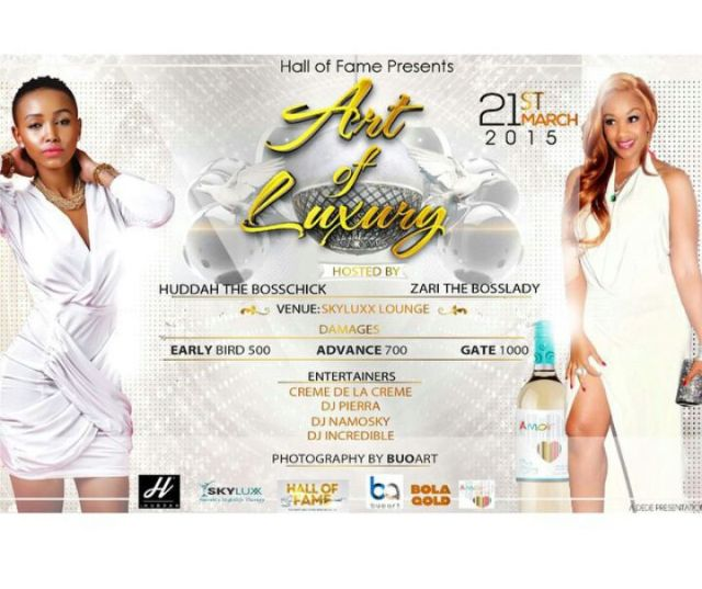 The post advertising Zari and Huddah Art of Luxury party