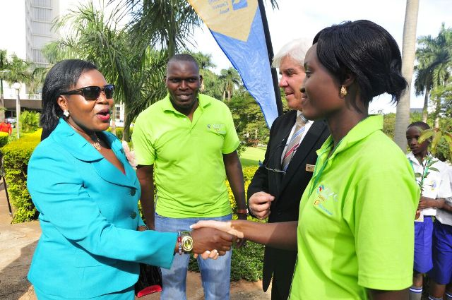 Government chief whip Ruth Nankabirwa is received at the Conference by organisers