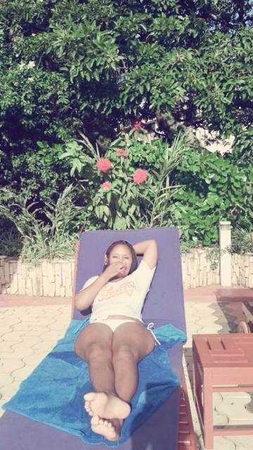 Daphine enjoying sunbathing after a swim