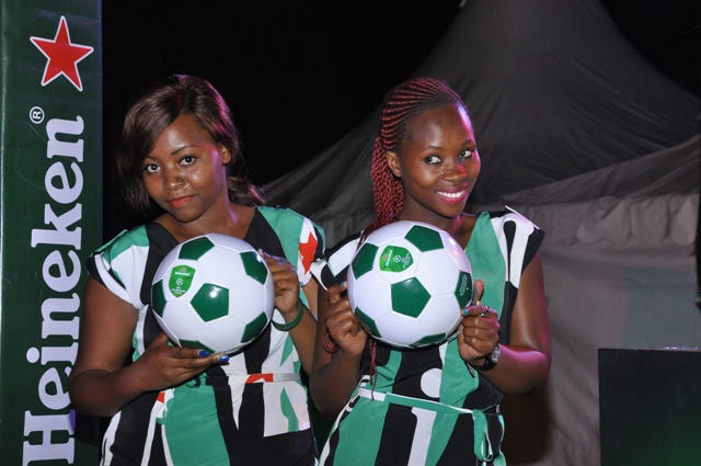 Sexy ushers pose with Heineken balls