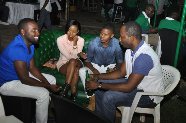 Sean Charles Ndawula and model Asma Uwase with friends at the launh