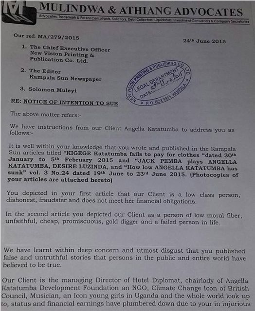 The intention to sue notice set to Kampala Sun