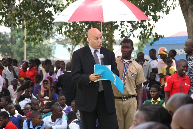 Mr. Jaya Murthy, UNICEF Chief of Communication, speaks at the Day of the African Child 2015 commemoration event in Bbaale Sub-county, Kayunga District.
