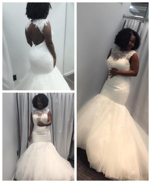 Desire Luzinda in wedding gown;  She posted these pictures on her wall