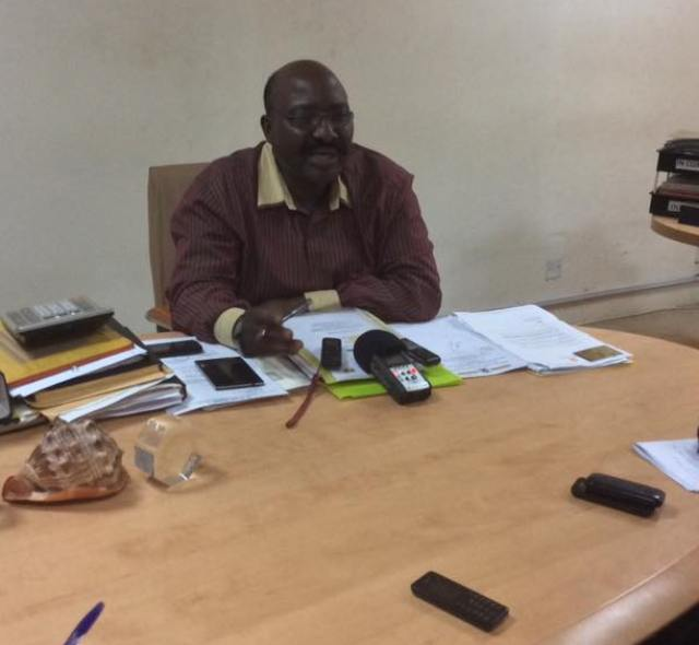Hajji Muyanja Mbabaali addressing press at his office on Wednesday