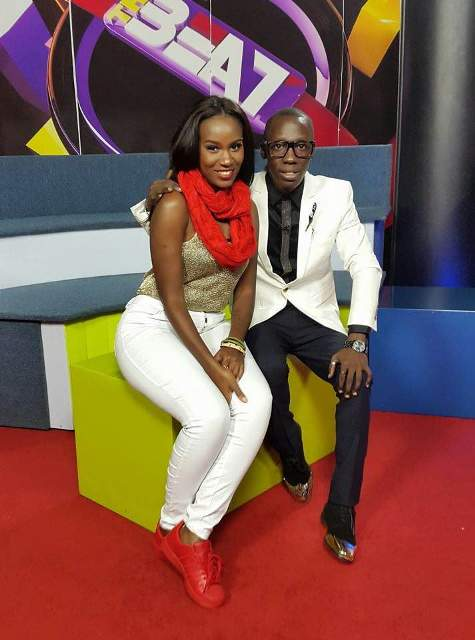 Juliana Kanyomozi premiering her song on NTV Uganda earlier this week