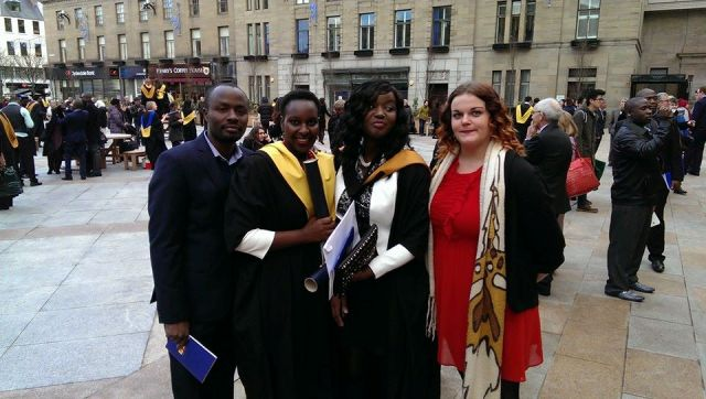 Jacklet Atuhaire (2nd from Right) with her friends at her graduation