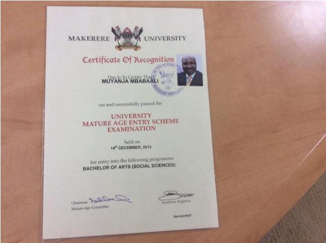Mbabaali's Mature Entry examination certificate