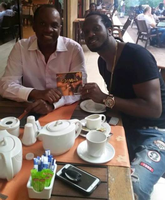 Patrick Bitature with Bebe Cool today evening. The tycoon bought a table for August concert