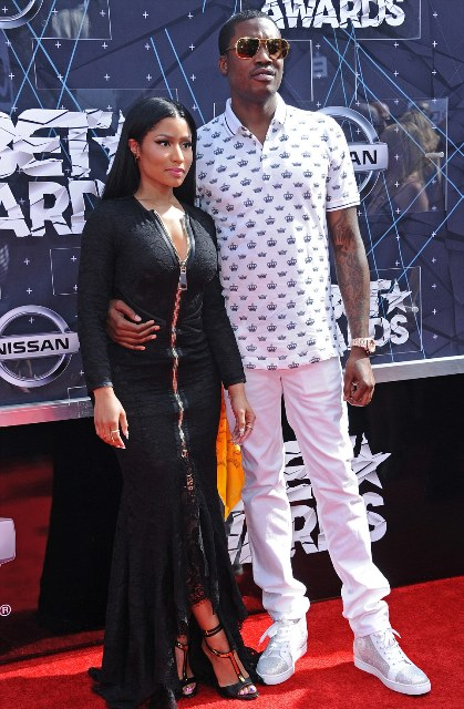 The 32-year-old rapper  Nicki Minaj was joined on the red carpet by her boyfriend Meek Mill - both of them performing later at the ceremony