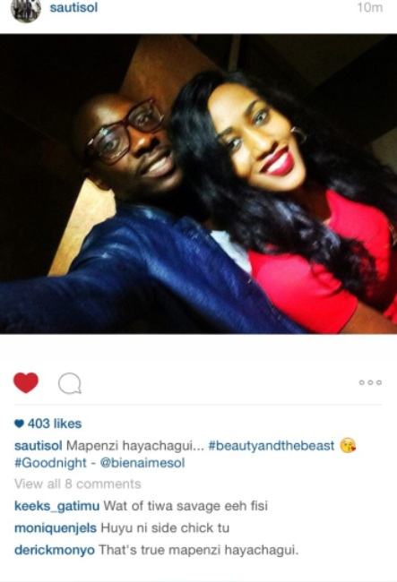 Bien with Faith Ariho. The picture was posted on Sauti Sol's official page on Facebook